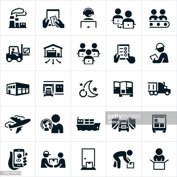 logistics icons - freight transportation stock illustrations