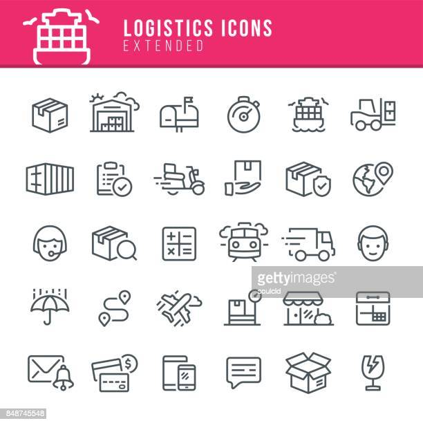 logistics icons - shipping stock illustrations