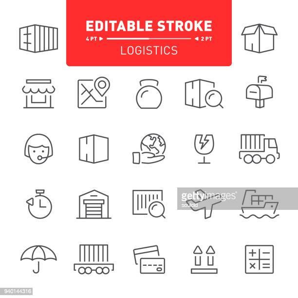 logistics icons - warehouse stock illustrations