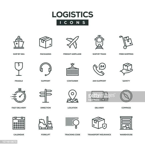 logistics line icon set - loading stock illustrations