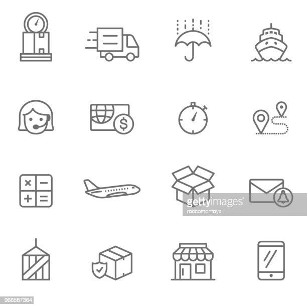 logistics line icons - illustration - free of charge stock illustrations
