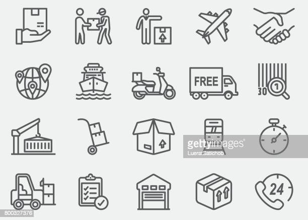 logistics line icons - shipping stock illustrations