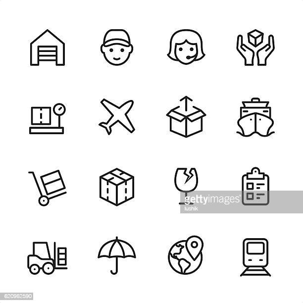 Logistics - outline style vector icons
