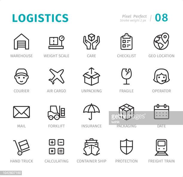 Logistiek - Pixel perfecte lijn iconen met bijschriften
