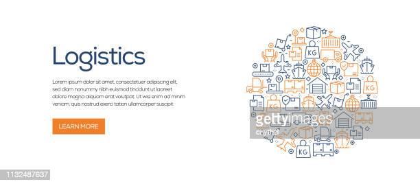 stockillustraties, clipart, cartoons en iconen met logistiek gerelateerde banner sjabloon met lijn iconen. moderne vector illustratie voor advertentie, header, website. - stadsdeel