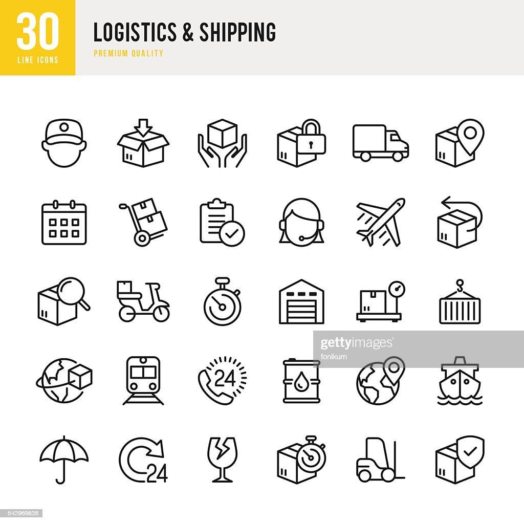 Logística  envio-linha fina Conjunto de ícones : Ilustração