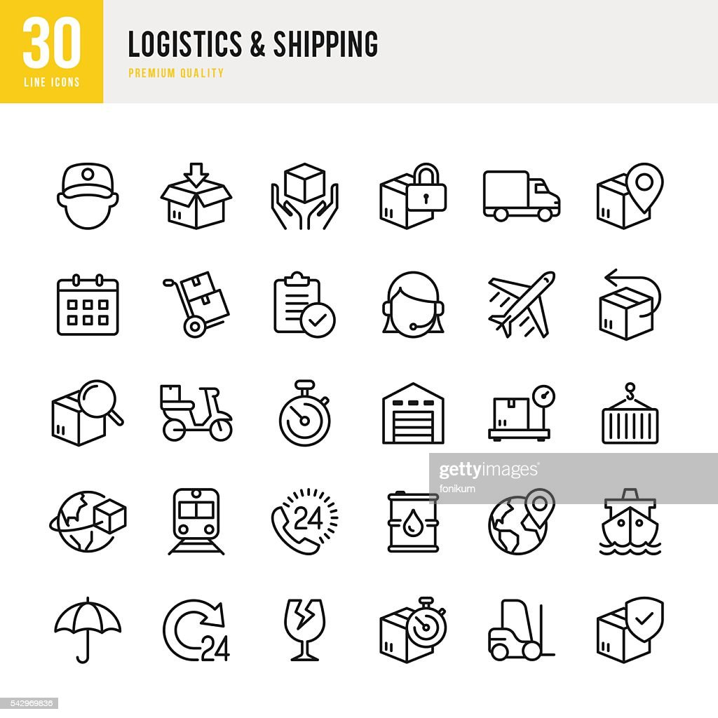 Logistics & Shipping - Thin Line Icon Set