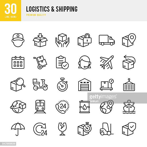 logistics & shipping - thin line icon set - shipping stock illustrations