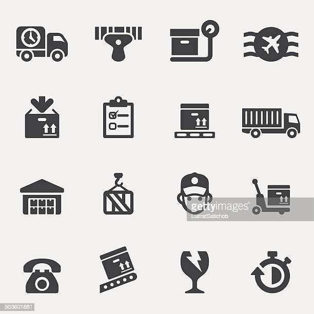 logistics silhouette icons | eps10 - bar code reader stock illustrations, clip art, cartoons, & icons