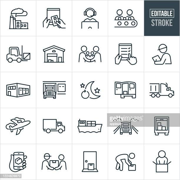 logistics thin line icons - editable stroke - building feature stock illustrations