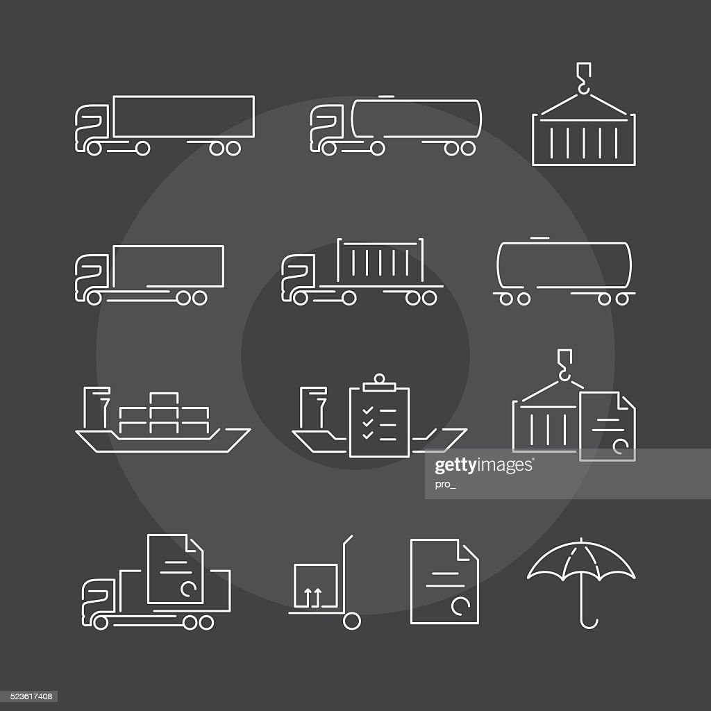 Logistics thin line icons set on dark background