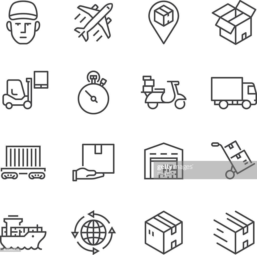 Logistics Thin Line icons : stock illustration