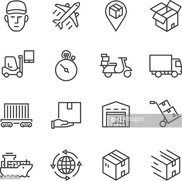 logistics thin line icons - shipping stock illustrations