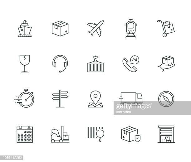 logistics thin line series - shipping stock illustrations