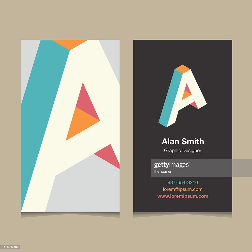 Logo alphabet letter 'A', with business card template.