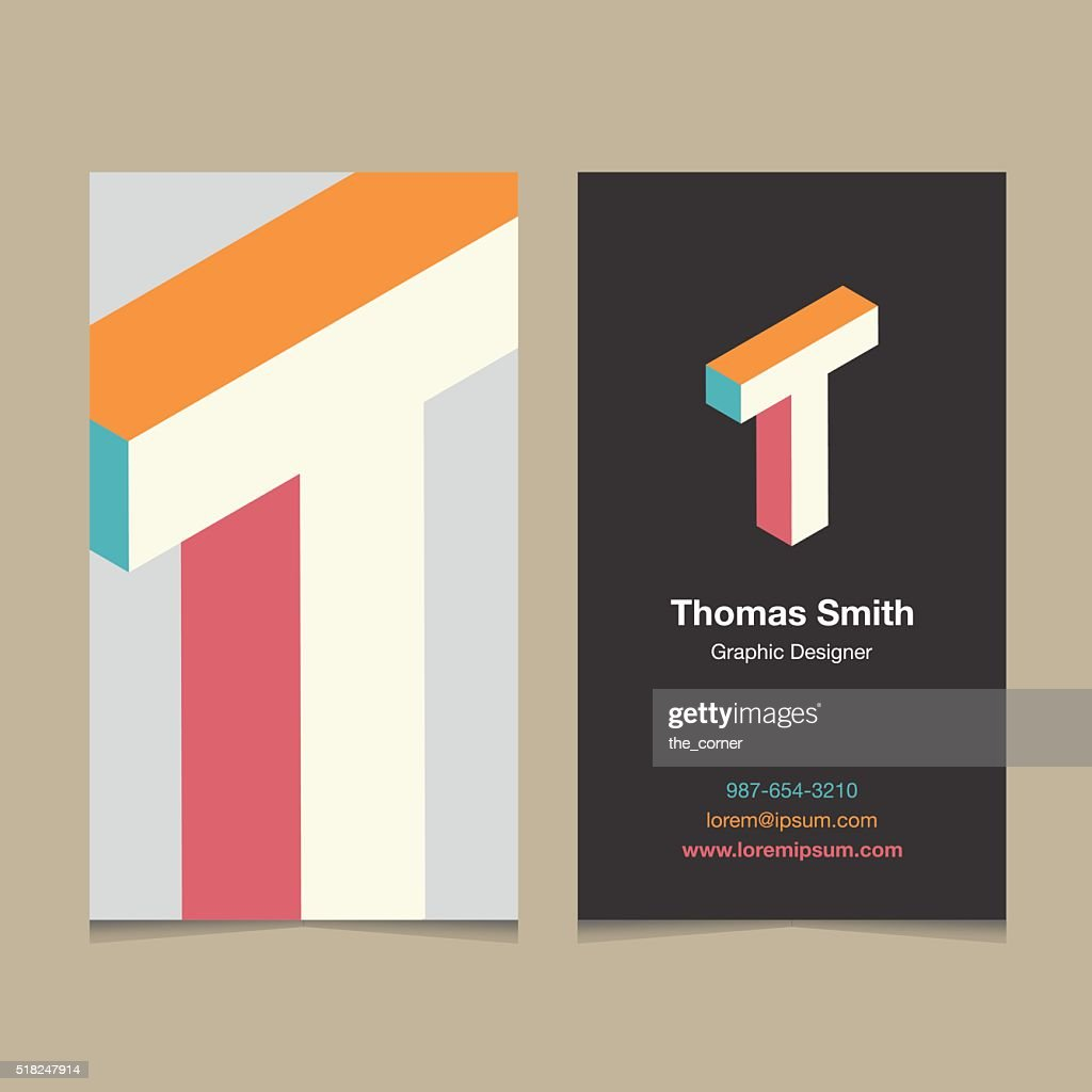 Logo alphabet letter 'T', with business card template.