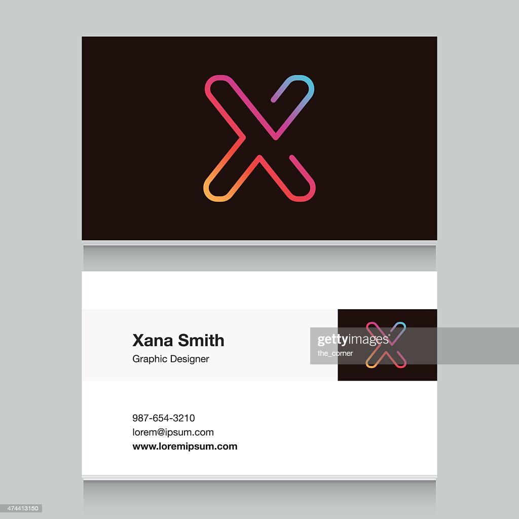 Logo alphabet letter 'X', with business card template.