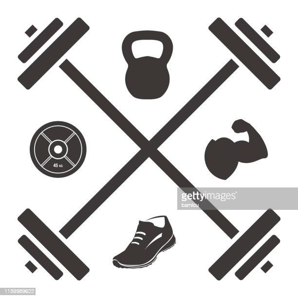 logo barbell cross with kettlebell plate shoe and muscled arm icons - sportsperson stock illustrations