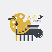 Logo creativity and art with brush, palette and ionic column