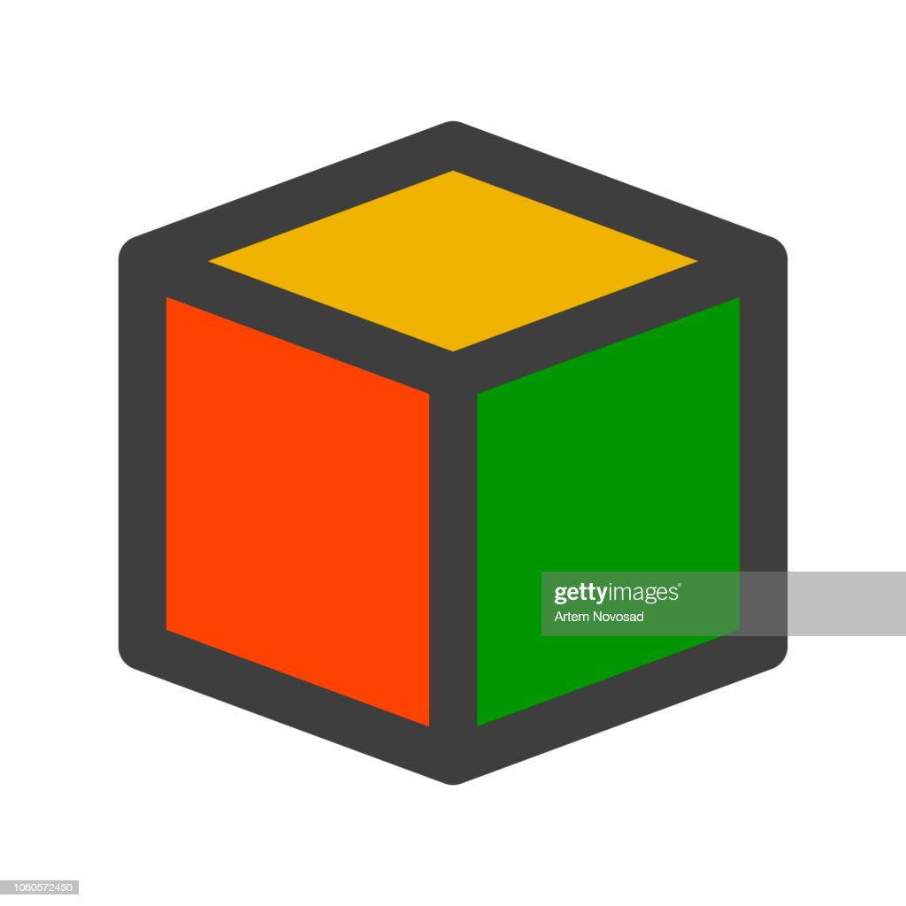 Logo cube with multi-colored faces. Isolated vector.