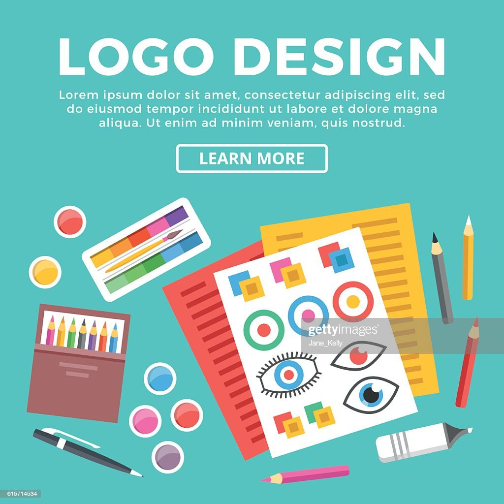 Logo Design Web Banner Paper Sheets With Logotypes Sketches Etc ...