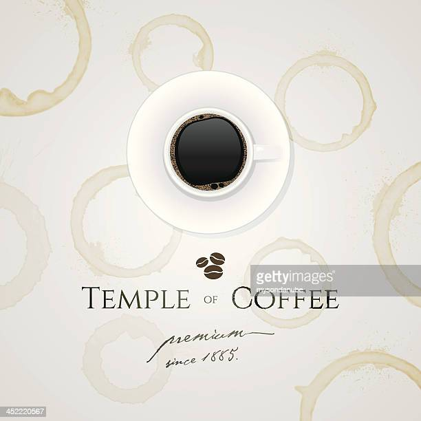 a logo displaying the brand of temple coffee  - menu background stock illustrations