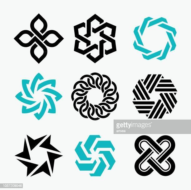 ilustraciones, imágenes clip art, dibujos animados e iconos de stock de diseño de logotipo elementos - cadena
