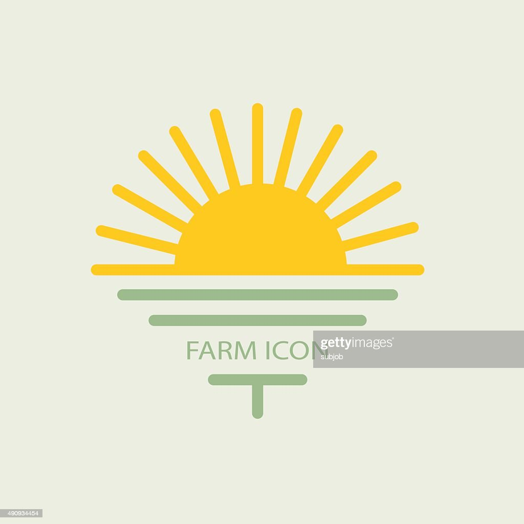 Logo farmhouse, with the sun and golf. flat design