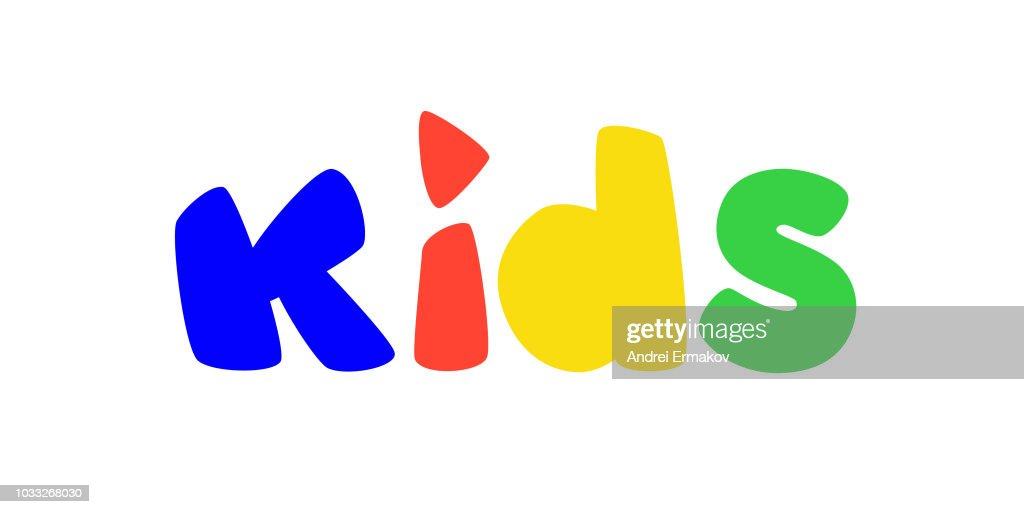 Logo for children's play area. Vector. Bright logo with colored letters. Logo isolated on white background. Fashionable children's shop, studio. An inscription for the video channel, blog. A symbol, an inscription.