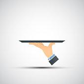 Logo hand holding a tray.