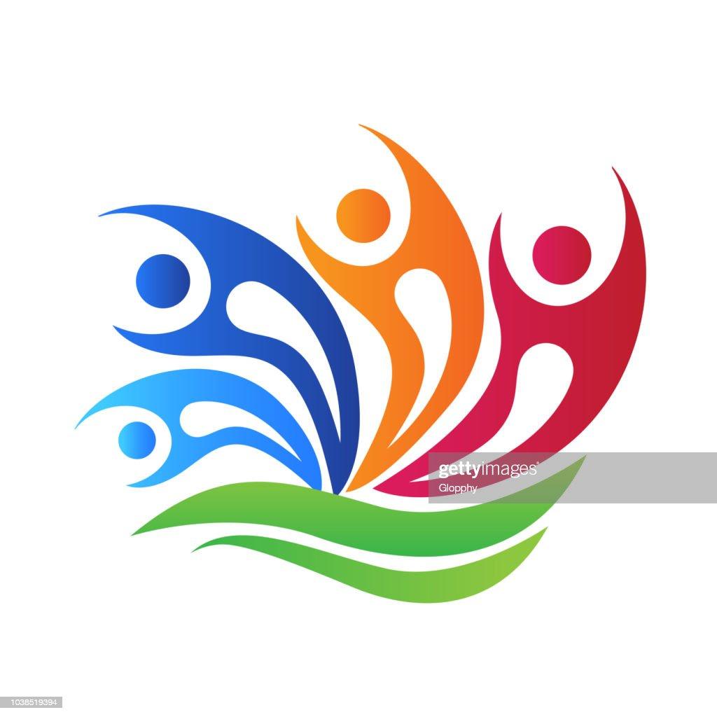 Logo happy swooshes teamwork people
