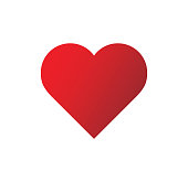 Logo heart illustration.Red heart design icon flat. Modern flat valentine love sign. Trendy vector hart shape