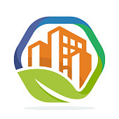 logo icon hexagon shape with the management concept of green cities
