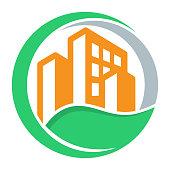 logo icon with green city concept