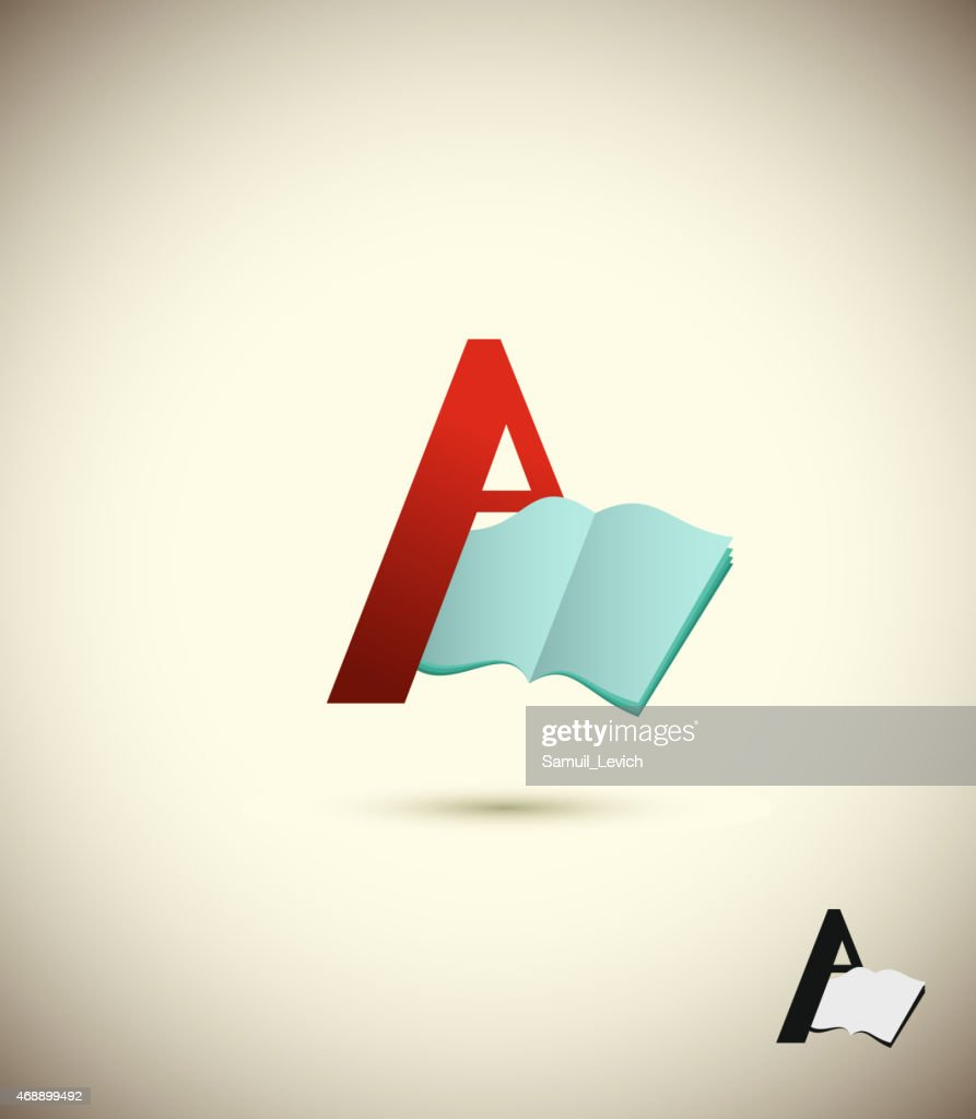 logo letter A, with an open book.