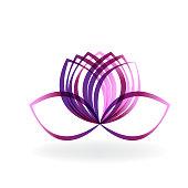 Logo lotus purple flower vector
