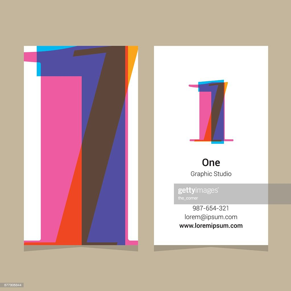 Logo number '1', with business card template.