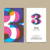 Logo number '3', with business card template.