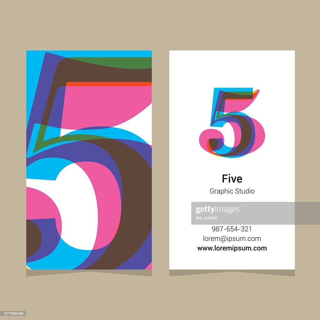 Logo number '5', with business card template.