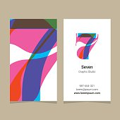 Logo number '7', with business card template.