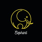Logo of abstract yellow line elephant icon on black background