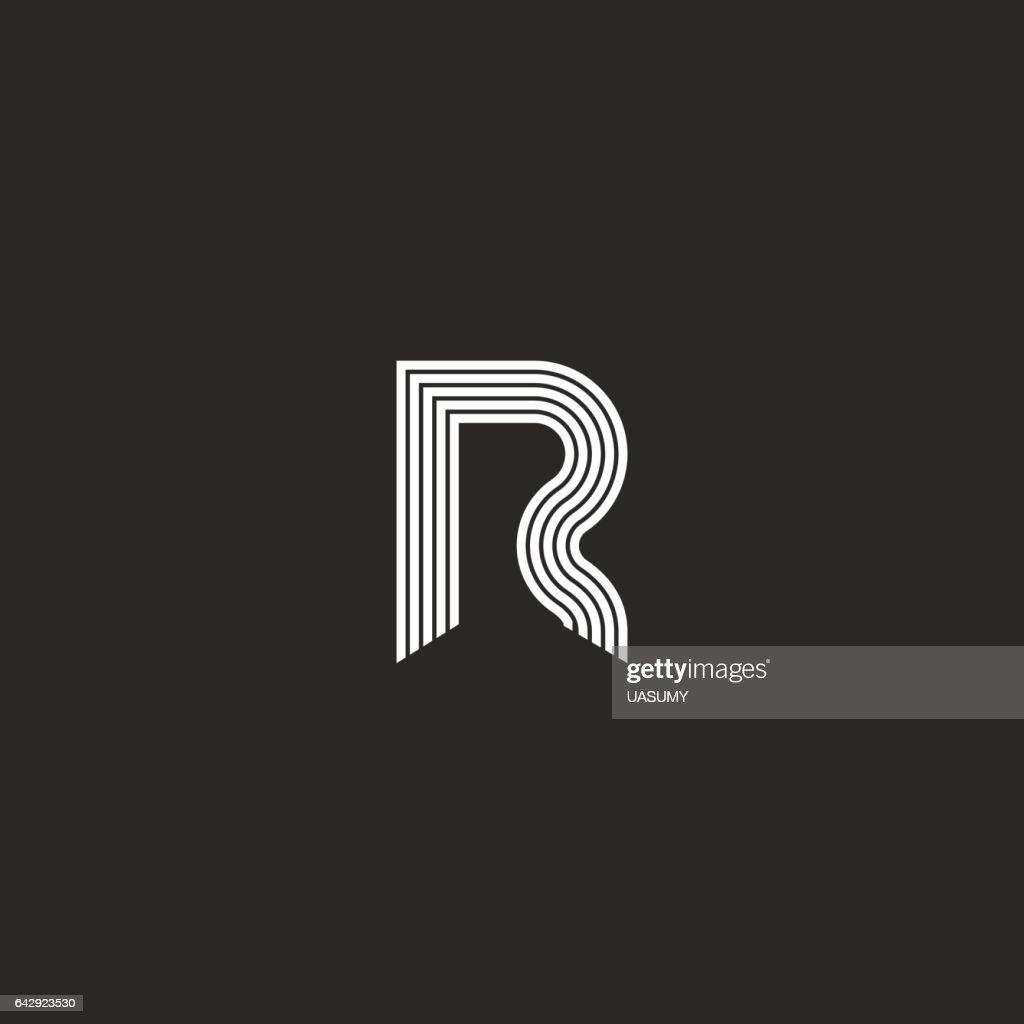 Logo R letter monogram thin lines style