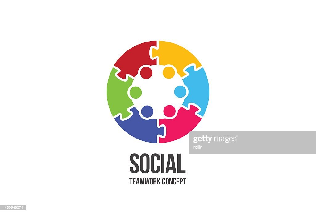 Logo Social Teamwork. Colorful puzzle