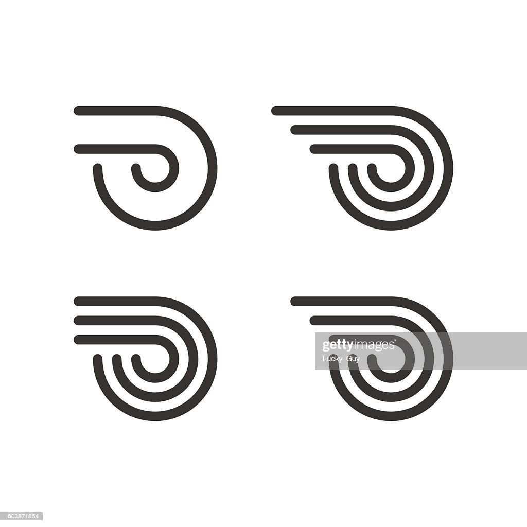 Logo Template Set. Wheel With Fire Or Wings. Line Style