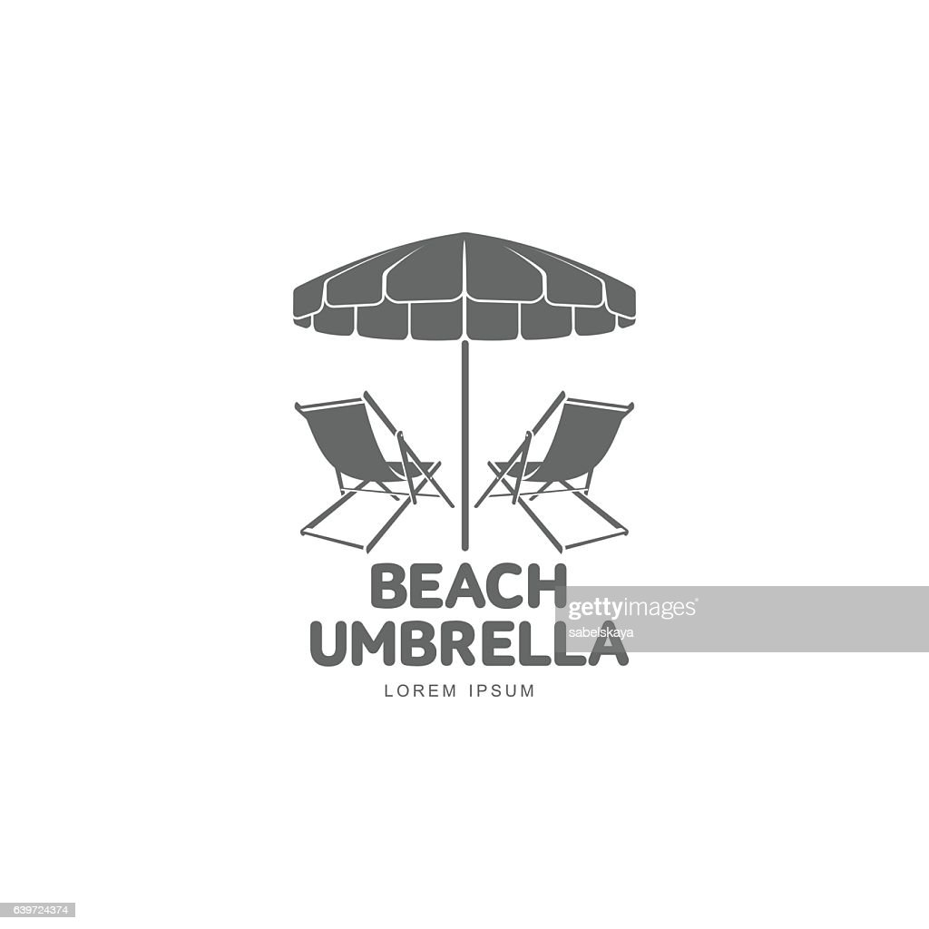 Logo Template With Beach Umbrella And Sun Bathing Lounge Chair Vector Art