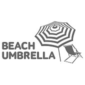Logo template with beach umbrella and sun bathing lounge chair