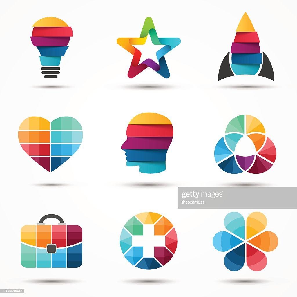 Logo templates set. Modern vector abstract circle creative sign or
