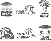 Logo templates with beach umbrella and sun bathing lounge chairs