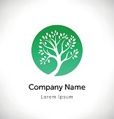 Logo vector with green tree silhouette