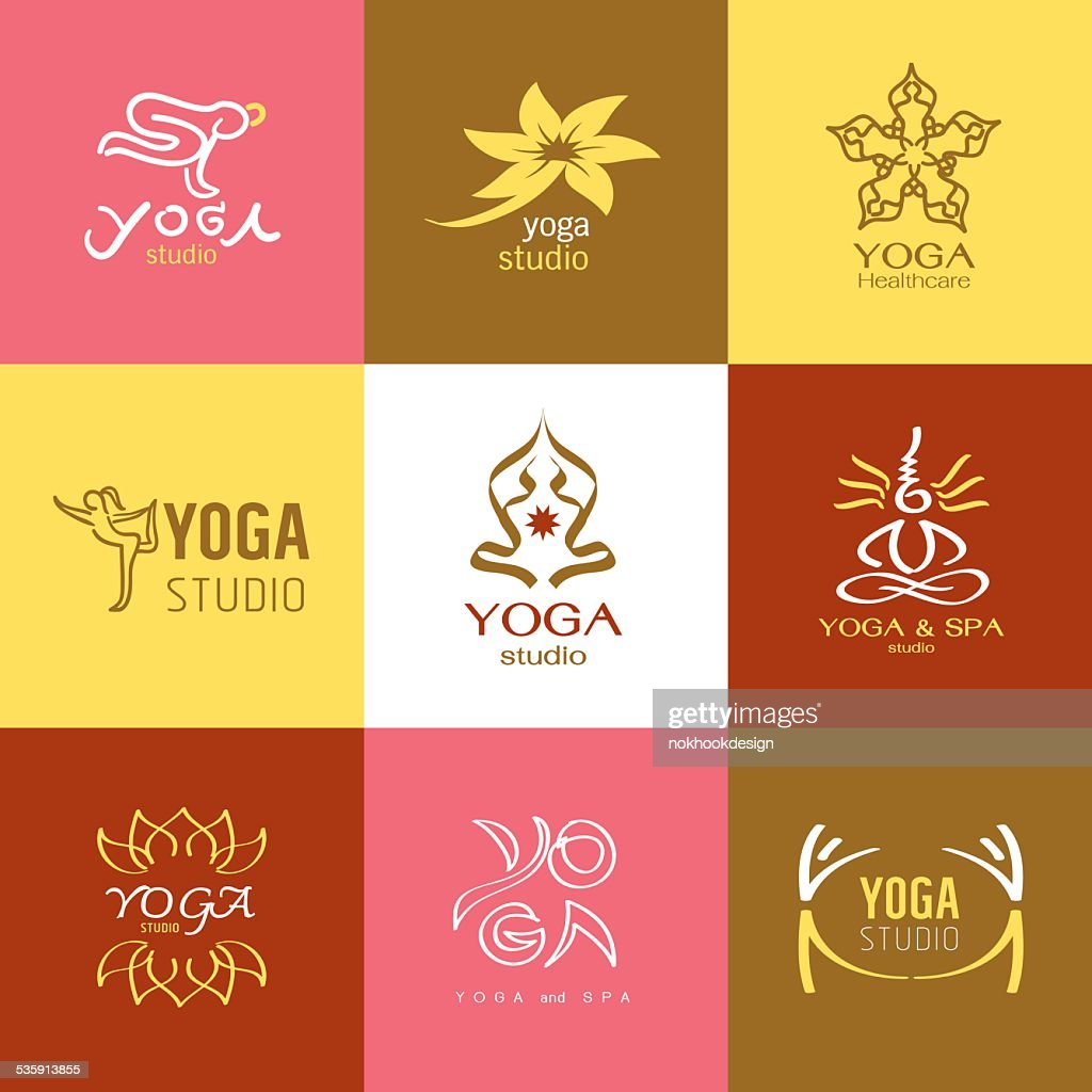 logos and Icons set for yoga studio or meditation class : Vector Art